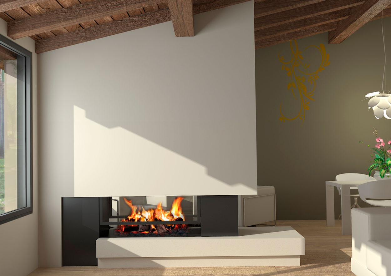 Chimenea moderna modelo oregon chimeneas magma - Chimeneas para interiores ...