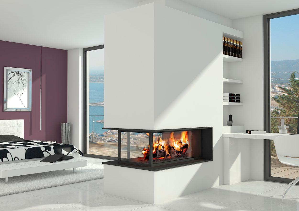 Chimenea moderna modelo sotogrande chimeneas magma - Puertas de vidrio para chimeneas ...
