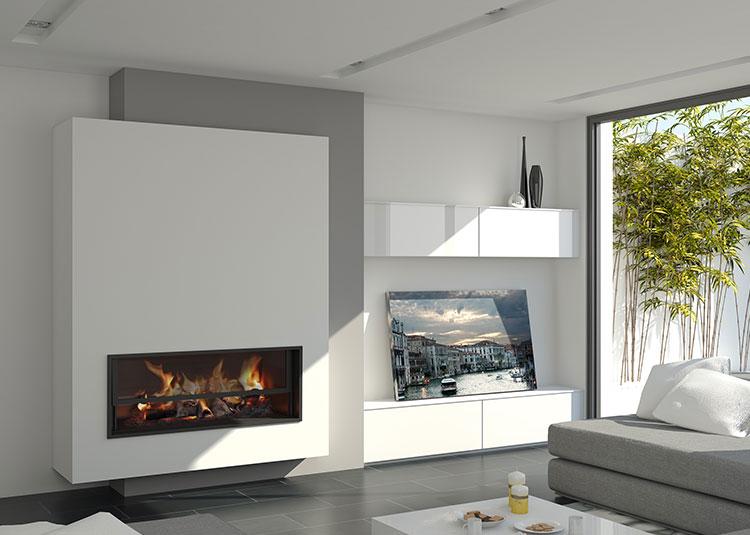Galer a de chimeneas modernas magma dise o chimeneas - Muebles de salon con chimenea integrada ...
